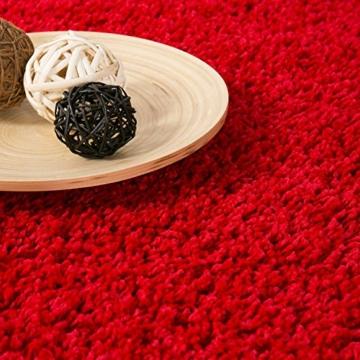 Prime Shaggy Farbe Rot Teppich Hochflor Langflor Teppiche Modern für Wohnzimmer Schlafzimmer - VIMODA, Maße:120x170 cm -