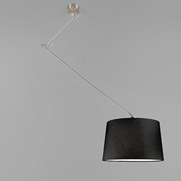 QAZQA Design / Modern / Pendelleuchte / Pendellampe / Hängelampe / Lampe / Leuchte Blitz stahl / nickel matt mit Schirm 40cm schwarz Metall / Textil / Rund / Rechteckig / LED geeignet E27 Max. 1 x 40 Watt Höhenverstellbar -
