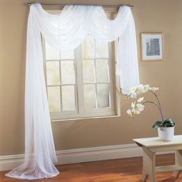 Querbehang Freihanddeko aus transparentem Voile, die ideale Ergänzung zu unseren Gardinen, 140x600, Weiß, 560 -