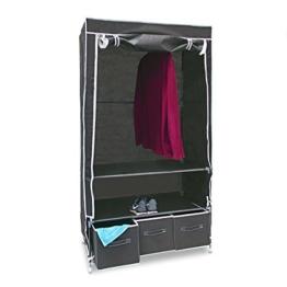 Relaxdays Faltschrank VALENTIN L HxBxT: 162 x 88 x 48 cm Stoffschrank mit 3 Schubladen und 2 Ablagen Textilschrank zum staubsicheren Aufbewahren Kleiderschrank aus Vlies-Gewebe zum Falten, anthrazit -