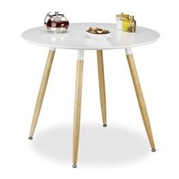 Relaxdays Runder Esstisch ARVID, Holz, HxD: 74 x 90 cm, Beine natur, Gummi Untersetzer, weiß -