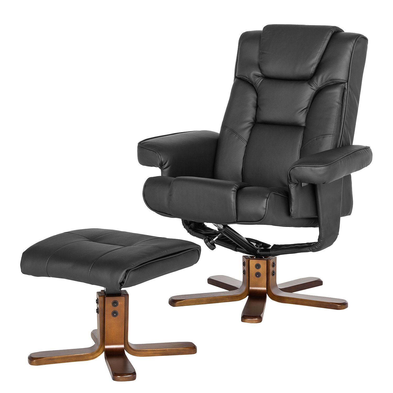 relaxsessel candy mit hocker kunstleder schwarz. Black Bedroom Furniture Sets. Home Design Ideas