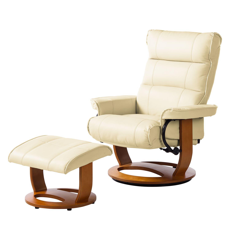 relaxsessel evansville mit hocker echtleder creme. Black Bedroom Furniture Sets. Home Design Ideas