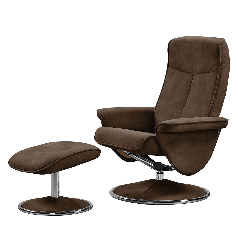 relaxsessel selfors mit hocker microfaser braun. Black Bedroom Furniture Sets. Home Design Ideas