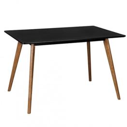 Retro Esstisch Schwarz Matt Lackiert Holz 120 x 80 x 75 cm | MDF Esszimmertisch mit Holzfüßen | Küchentisch Skandinavisch -