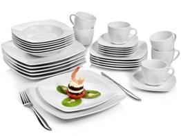 Sänger Kombiservice 'Markant' aus Porzellan 30 teilig   Geschirrset beinhaltet Speise-, Suppen-, Desserttellern sowie passende Tassen (175 ml) und Untertassen   Geschirrservice für bis zu 6 Personen -