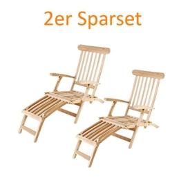 SAM® Spar-Set 2 x Teak-Holz Deckchair, Liegestuhl, Sonnenliege, verstellbar, geschliffen, platzsparend zu verstauen im Winter, ideal für Balkon und Garten, robuste Gartenliege, optimaler Liegekomfort [53257849] -