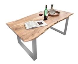SAM® Stilvoller Esszimmertisch Quarto 180 x 90 cm aus Akazie-Holz, Tisch mit silber lackierten Beinen, Baum-Tisch mit naturbelassener Optik -