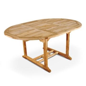 SAM® Teak-Holz, Ausziehtisch mit Schirmloch, massiver Gartentisch mit Platz für die ganze Familie, Holztisch mit geschliffener Oberfläche, ca. 120-170 x 120 cm [521290] -