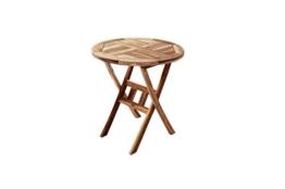 SAM® Teak-Holz Balkontisch, Gartentisch, 70 cm Durchmesser, zusammenklappbarer Tisch aus Massivholz, leicht zu verstauen, ideal für Ihren Garten [521426] -