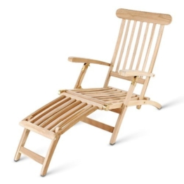 SAM® Teak-Holz Deckchair, Liegestuhl, Sonnenliege, verstellbare Liege aus Massivholz, zusammenklappbar, platzsparend zu verstauen im Winter, optimaler Liegekomfort [521329] -