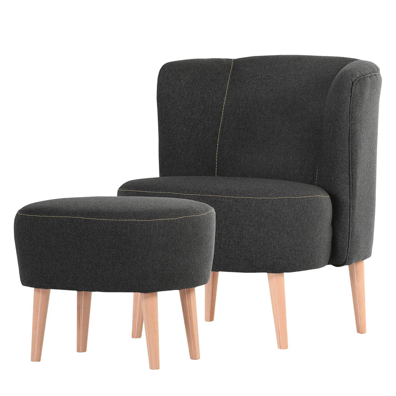sessel edenton webstoff grau mit hocker morteens. Black Bedroom Furniture Sets. Home Design Ideas