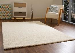 Shaggy Hochflor Teppich Happy Langflor Teppich in Creme / Beige mit Öko-Tex Siegel, Größe: 160x230 cm -