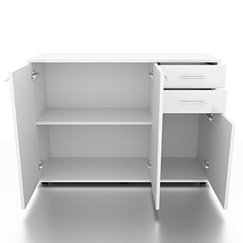 sideboard kommode anrichte mehrzweckschrank standschrank 3 t ren weiss hochglanz. Black Bedroom Furniture Sets. Home Design Ideas