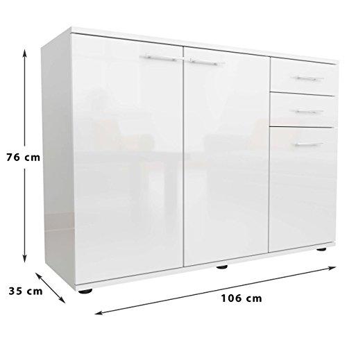 sideboard kommode anrichte mehrzweckschrank standschrank 3 t ren weiss hochglanz. Black Bedroom Furniture Sets. Home Design Ideas