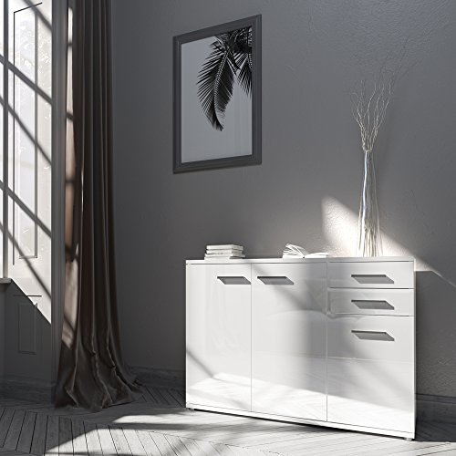 sideboard kommode schrank anrichte mehrzweckschrank highboard hochglanz weiss. Black Bedroom Furniture Sets. Home Design Ideas