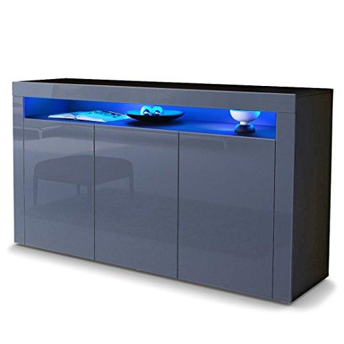 sideboard kommode valencia korpus in schwarz matt front in grau hochglanz mit rahmen in. Black Bedroom Furniture Sets. Home Design Ideas