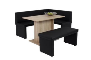 Sitzbank Taina II, Kunstleder Schwarz, Gestell aus Holz  110 x 45 x 48cm  Apollo -