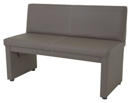 Sitzbank Vanessa II mit Lehne, 2-Sitzer, Holzgestell gepolstert, Bezug Kunstleder schlamm  123 x 56 x 83cm  Apollo -