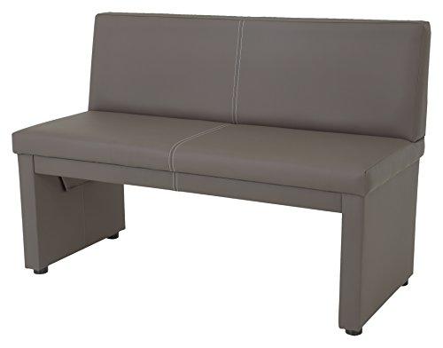 sitzbank vanessa ii mit lehne 2 sitzer holzgestell gepolstert bezug kunstleder schlamm 123 x. Black Bedroom Furniture Sets. Home Design Ideas