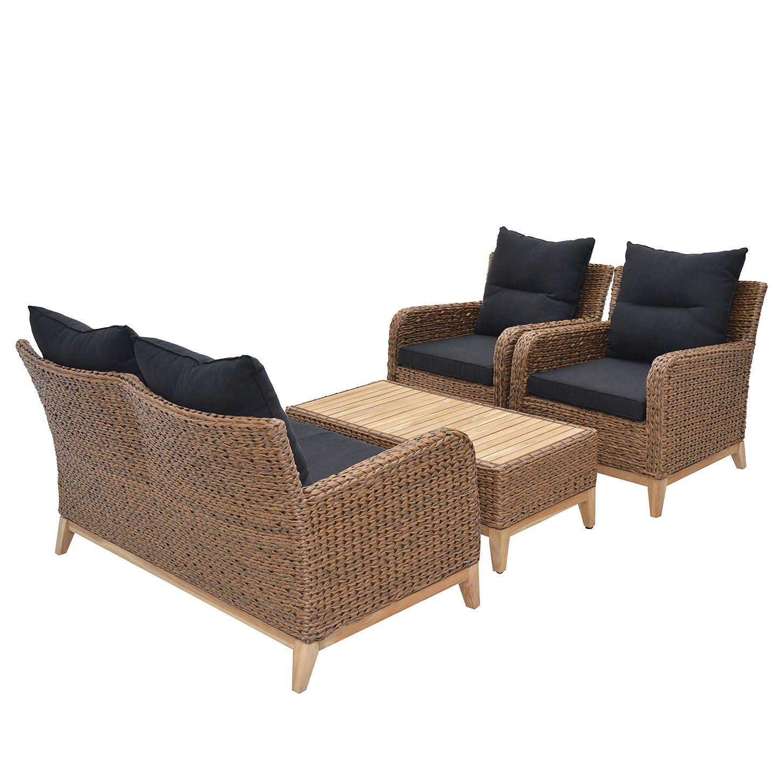 Sitzgruppe Lotus Ruskea - Polyrattan / Teak - Braun / Teak, Ploß - Möbel24 Online
