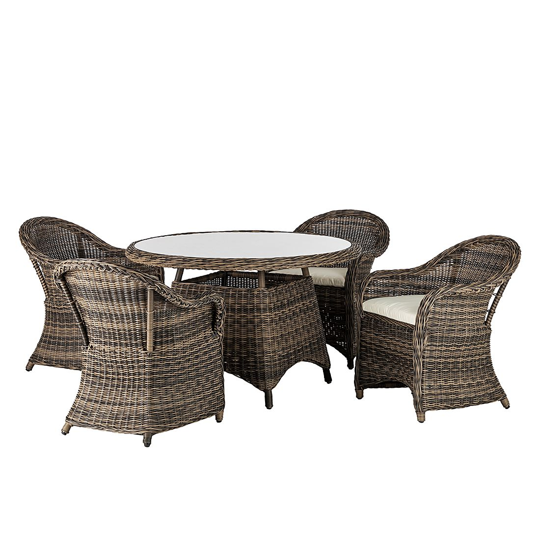 sitzgruppe royal comfort 5 teilig polyrattan braun maison belfort. Black Bedroom Furniture Sets. Home Design Ideas