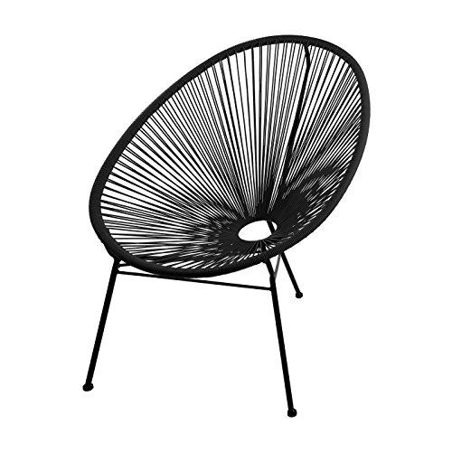 skason pulkko klassischer design sessel im acapulco style ganz in schwarz. Black Bedroom Furniture Sets. Home Design Ideas