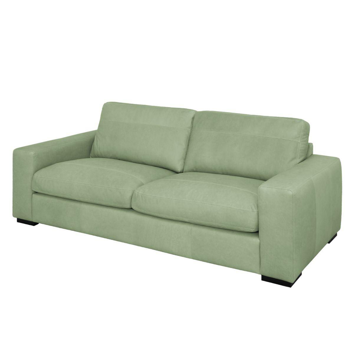 Sofa Riton (3-Sitzer) Echtleder - Olivgrün, Nuovoform - Möbel24 Online