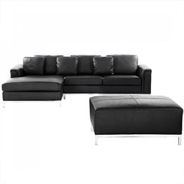 Sofa Schwarz Leder - Couch - Ecksofa R - Sofalandschaft - Sofagarnitur - Ledersofa – OSLO -