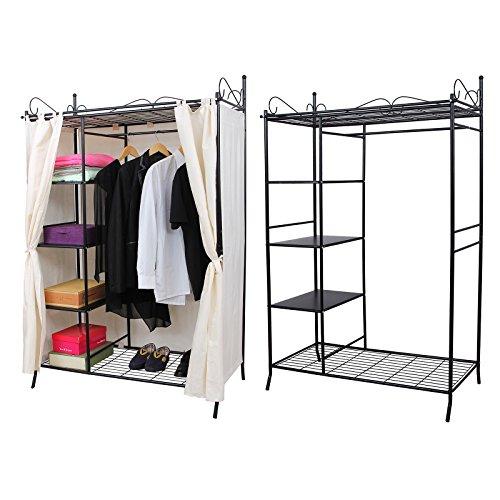 songmics metall kleiderschrank faltschrank garderobenschrank mit vorhang 170 x 108 x 58 cm rtg03h. Black Bedroom Furniture Sets. Home Design Ideas