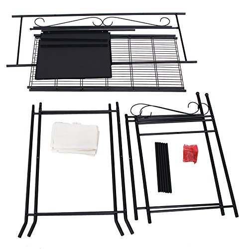 songmics metall kleiderschrank faltschrank garderobenschrank mit vorhang 170 x 108 x 58 cm. Black Bedroom Furniture Sets. Home Design Ideas