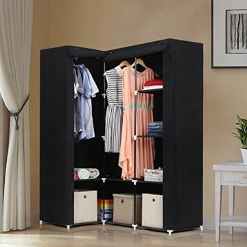 Songmics neu Generation Eck-Kleiderschrank Faltschrank 2 Kleiderstangen Stoffschrank 129 x 169 x 87 cm schwarz LSF42H -
