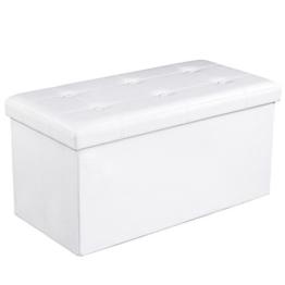Songmics Sitzhocker Sitzbank mit Stauraum faltbar 2-Sitzer belastbar bis 300 kg kunstleder weiß 76 x 38 x 38 cm LSF106 -