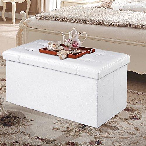songmics sitzhocker sitzbank mit stauraum faltbar 2 sitzer belastbar bis 300 kg kunstleder wei. Black Bedroom Furniture Sets. Home Design Ideas