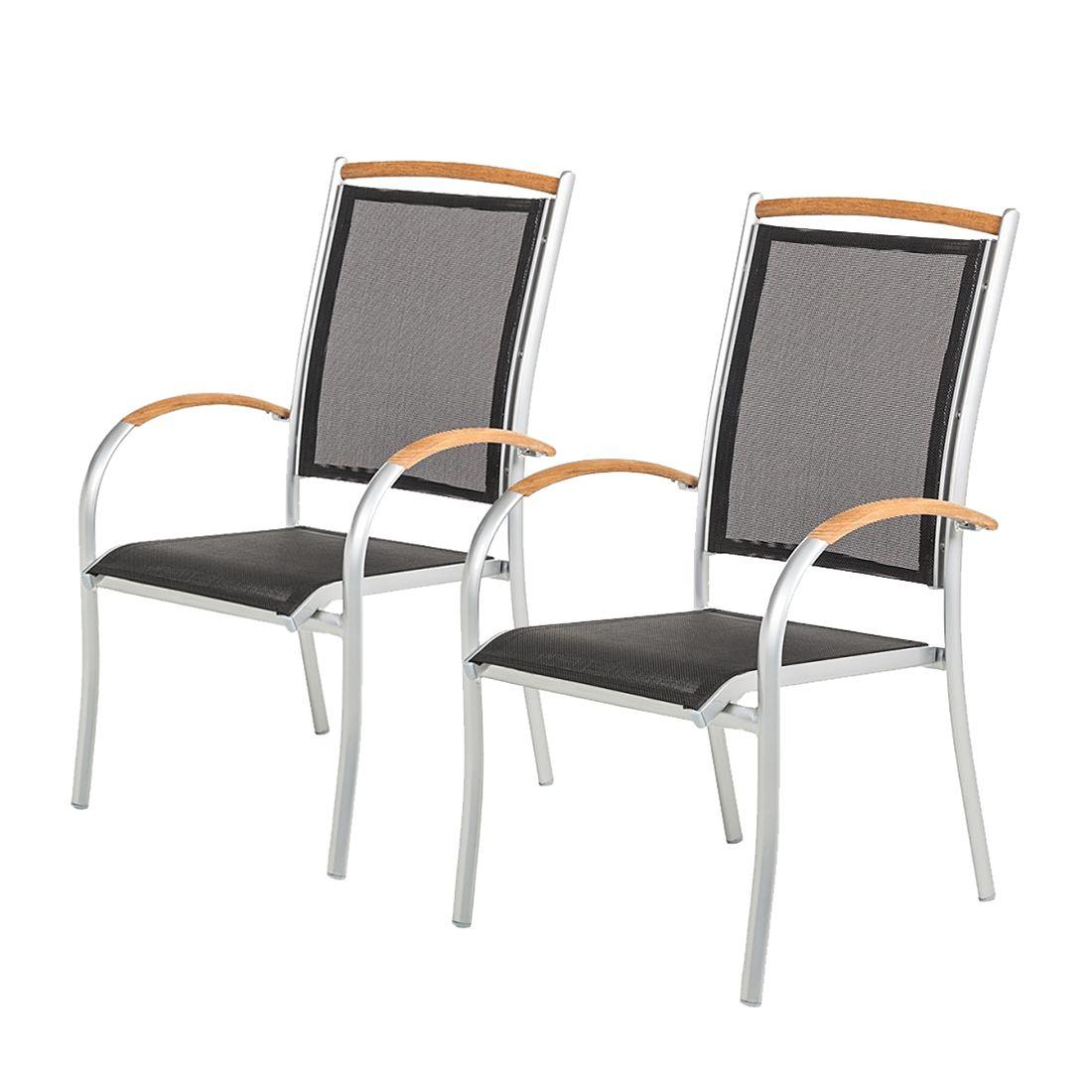 stapelstuhl varu 2er set aluminium silber textil schwarz mehr garten m bel24. Black Bedroom Furniture Sets. Home Design Ideas