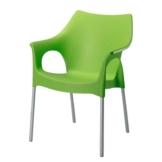 Stapelstuhl Vegas - Aluminium/Kunststoff - Silber/Apfelgrün, Best Freizeitmöbel