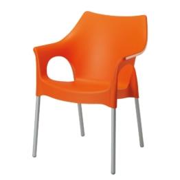Stapelstuhl Vegas - Aluminium/Kunststoff - Silber/Orange, Best Freizeitmöbel