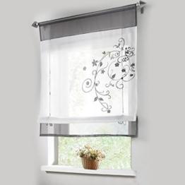 Stickblume Gardine Raffgardinen mit 4 Farben und 4 Groessen Vorhang BxH 100cmx140cm Grau -
