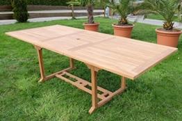 TEAK XXL Ausziehtisch Holztisch Gartentisch Garten Tisch L: 180/240cm B: 100cm Gartenmöbel Holz geölt sehr robust Modell: TOBAGO von AS-S -