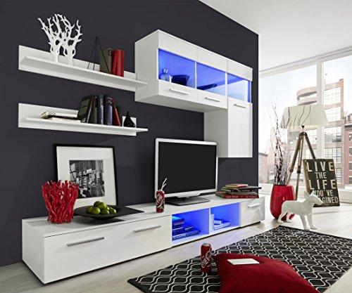 trendteam 1563 001 01 wohnwand wei glanz bxhxt 250x180x44 cm. Black Bedroom Furniture Sets. Home Design Ideas