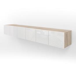 TV Lowboard Set - 240 cm - Eiche Sonoma und Weiß Hochglanz - Sideboard Wandschrank Fernsehschrank Wohnwand Schrank -