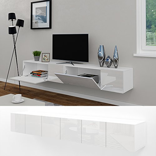 tv lowboard set 240 cm wei hochglanz sideboard wandschrank fernsehschrank wohnwand schrank. Black Bedroom Furniture Sets. Home Design Ideas