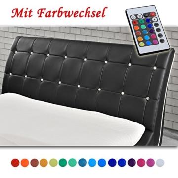 VEGAS Schwarz Doppelbett Polsterbett LED Unterbodenbeleuchtung Bett (140cm x 200cm) -
