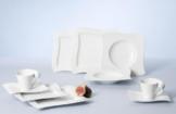 Villeroy & Boch NewWave Basic Geschirrset / edles Tafelgeschirr aus Porzellan in geschwungener Form / geeignet für bis zu 6 Personen / 1 x Set (30-teilig) -