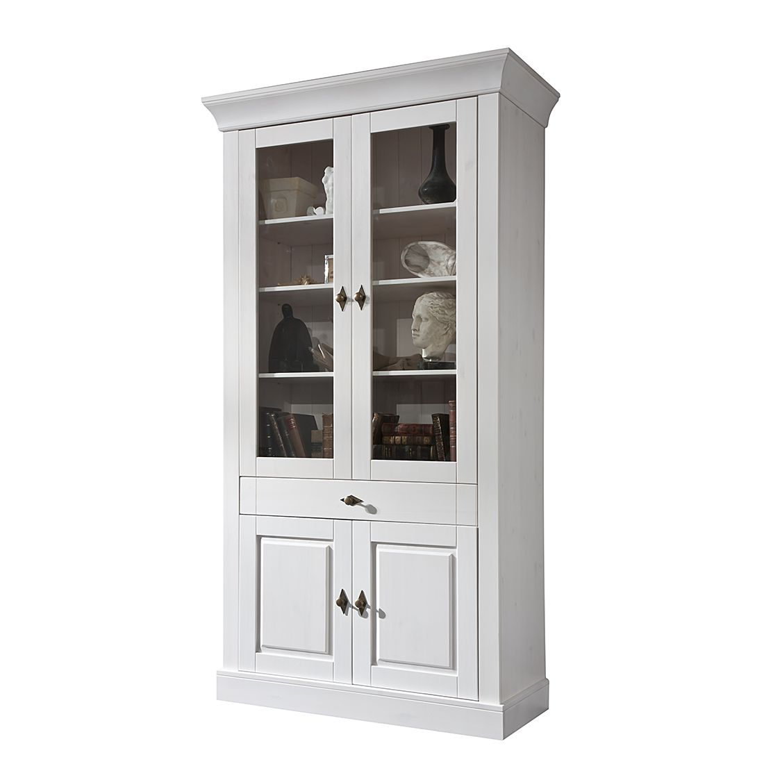 vitrine bergen iv kiefer massiv wei maison belfort m bel24 online. Black Bedroom Furniture Sets. Home Design Ideas
