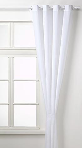 Vorhang Blickdicht Schal mit Ösen aus Microsatin, matt, 245x140, Weiß -