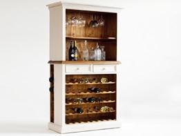Weinregal Holz weiß Weinbuffet BODDE Vintage Shabby Esszimmer Schrank Vitrine Massivholz -