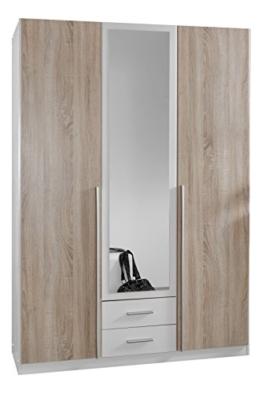 Wimex 119484 Kleiderschrank, 3-türig mit zwei Schubkästen und einer Spiegeltür, Front Korpus Außentüren Eiche Sägerau Nachbildung, 135 x 198 x 58 cm -