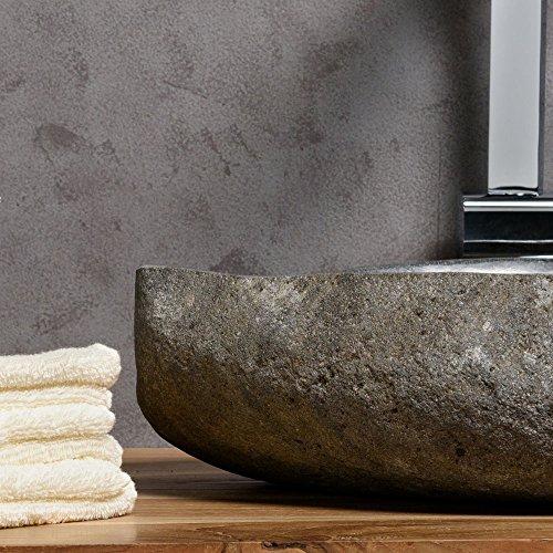 wohnfreuden naturstein waschbecken 40 50 cm aufsatz waschbecken aus flussstein einzeln. Black Bedroom Furniture Sets. Home Design Ideas