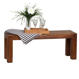 WOHNLING Esszimmer Sitzbank Massiv-Holz Sheesham 120 x 45 x 35 cm Design Holz-Bank Natur-Produkt Küchenbank Landhaus-Stil dunkel-braun Bank 3-Sitzer für innen ohne Rücken-Lehne Echt-Holz unbehandelt -